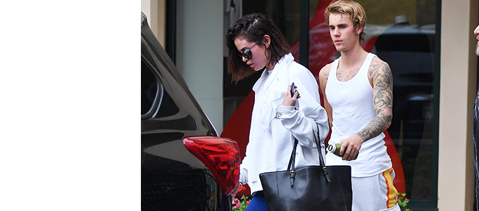 Wyjście Seleny Gomez i Justina Biebera do siłowni Hot Pilates w Los Angeles, Kalifornia